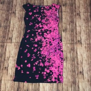 Black and pink floral bodycon dress